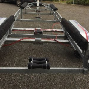 Indespension Big Dipper 4, Will carry boat up to 8m long and 2750kg. Fully adjustable bunked trailer c/w spare wheel and flushing kit, Bearing savers,  Winch and LED lighting board