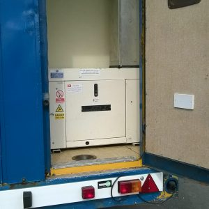 Welfare Unit , electrically operated suspension, with built in generator, seating area with table, wall mounted heater, kitchen area c/w microwave, hot water unit and sink. Built in Toilet at rear .