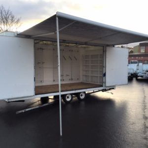 Exhibition unit Complete with fold out canopy and small kitchen area 18ft long, 7ft wide. Large display area with display racking
