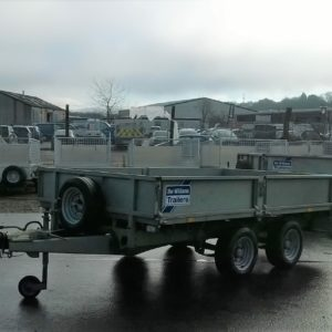 Ifor Williams LM105g Flatbed trailer complete with removable drop sides and spare wheel