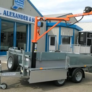 Ifor Williams LM105 fitted with 250kg Lifting Crane, stabilisation side winding jacks and battery powered winch. 