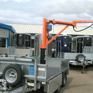 Ifor Williams LM105 fitted with 250kg Lifting Crane, stabilisation side winding jacks and battery powered winch.  Special adaption for customer. These cranes can be fitted to any large Ifor Williams trailer. For more information please call.