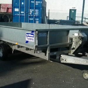 Ifor Williams LT146 Flat bed trailer 2000kg, complete with 2000kg manual winch, removable dropsides and spare wheel. In very good condition for age and fully serviced by our workshop, ready to go.