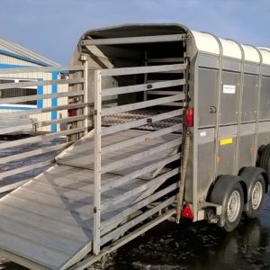 Ifor Williams TA5g Stockbox 2700kg, Reg Jan 2016, 8ft x 6ft comes complete with easyload deck system, sump tank kit , sheep dividers , rear loading gates and spare wheel, equipped with GRP nose cone to reduce wind drag. In very good condition inside and out , fully serviced by our workshop and ready to go, For further details call