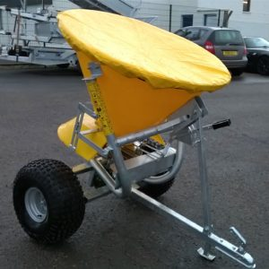 JAR-MET Spreader / Gritter  200lt Hopper, 250kg Gross. Spreading Width I to 6 metre with adjustable skirt, Heavy duty galvanised Chassis, multiblade agitator ,adjustable height drawbar, comes Complete with off road tyres , Ball coupling and load cover.