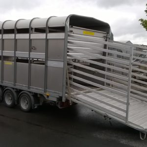 Ifor Williams DP120 tri axle 14ft Stockbox, 3500kg Reg Date Jan 2016, In very clean condition must be viewed, comes complete with cattle division, easyload deck system , internal sheep dividers , rear loading gates , sumptank and spare wheel, fully serviced by our workshop and ready to work. for further details call Mark on 07710 637078