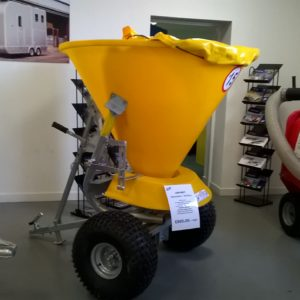 Jar-met Spreader/Gritter 500lt Hopper, spreading width 1mtr to 6mtr with adjustable skirt, Heavy duty galvanised chassis and agitator, adjustable height drawbar, complete with off road tyres, ball coupling and load cover, for further details call Mark on 07710 637078