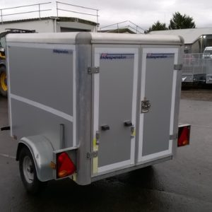 Indespension Box Van 750kg 6ft x 4ft with rear loading doors and spare wheel, selling on behalf of customer. For more details contact Mark on 07710 637078