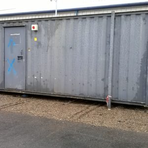 20ft x 8ft Office Container Complete with Steel security window shutters , Heater & Electric Hook Up