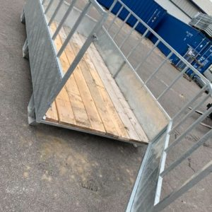 For Sale . 12 ft galvanized feed box . With removable swing open gate . Easily moved with fork pockets for lifting . Wood slated floor .Call mark on 07710637078 or Sam on 07522716854