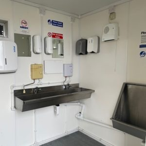 Male & Female Toilet Block complete with electric hook up equipped with hot water units , hand dryers and soap dispensers, for more details and possible delivery contact Mark on 07710 637078