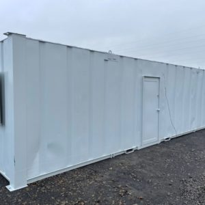 32ft x 10ft Office Container complete with Toilet & Shower, electric hook up & security shutters. For more information and possible delivery contact Mark on 07710 637078